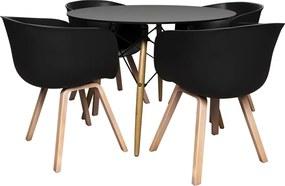Jogo Mesa de Jantar Redonda com 04 Cadeiras Angélica/Gustave (PP) Preto - Gran Belo