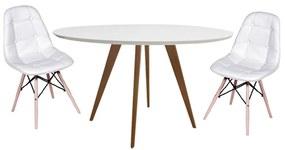Conjunto Mesa Square Redonda Branco Fosco 80cm + 2 Cadeiras Eiffel Botonê Branca