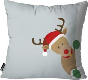 Capa para Almofada Mdecor De Natal Rena Cinza