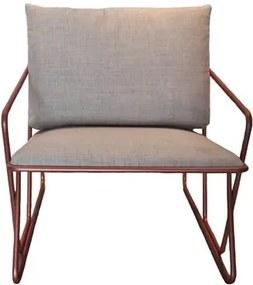 Poltrona Industrial Vaz Assento Estofado Cinza com Base Aco cor Cobre - 46207 Sun House