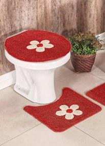 Jogo de Banheiro Flores Vermelho 3 Peças