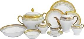 Aparelho de Jantar Serres com Bordas Decorativas - Jogo com 81 Peças