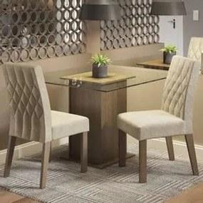 Conjunto Sala de Jantar Madesa Tati Mesa Tampo de Vidro com 2 Cadeiras Rustic/Imperial Cor:Rustic/Imperial