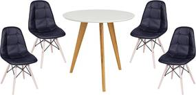Conjunto Mesa Square Redonda 80cm Pés em Madeira Taeda + 4 Cadeiras Eiffel Botonê Preta