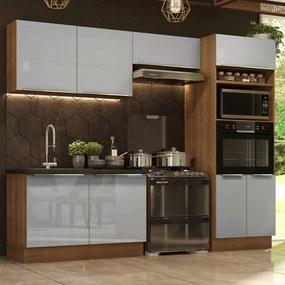 Cozinha Completa Madesa Lux 270001 com Armário e Balcão Rustic/Cinza Cor:Rustic/Cinza