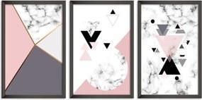 Quadro 60x120cm Abstrato Escandinavo Coloridos Geométrico Triangulos Moldura Preta Sem Vidro - Mod: OH5713