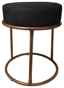 Puff Redondo Decorativo Luxe Base de Aço Cobre Suede Preto - Sheep Estofados - Preto