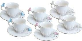 Conjunto 6 Xícaras de Porcelana Wolff Para Café Birds Round 100ml – Plate Colorido