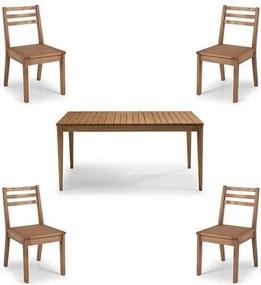 Conjunto Dubai Mesa + Cadeiras Assento Madeira - 60477 Sun House
