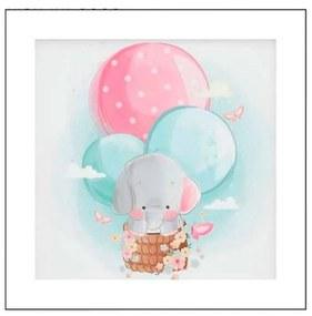 Quadro Para Quarto de Bebê Elefante e Balão - KF 49978 30x30 (Moldura 520)