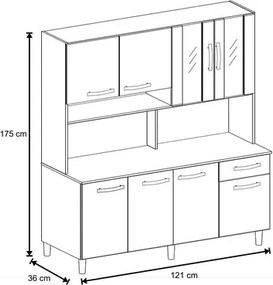 Kit Cozinha Compacta 8 Portas Bianca Terrarum/Acácia - Móveis Leão