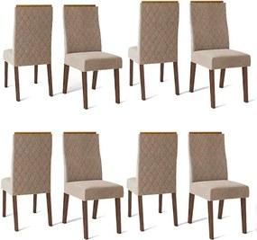Conjunto 8 Cadeiras Cássia Rústico Malbec Tecido Veludo Kraft