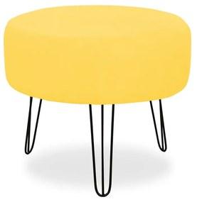 Puff Redondo para Sala Chloe Suede Amarelo