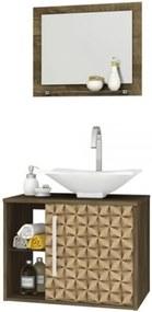 Conjunto Para Banheiro Baden Madeira Rústica com Madeira 3D – Bechara Móveis