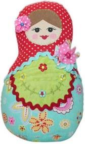Boneca Decorativa Matrioshka Flores/Poá Colorida em Tecido - 20x12 cm