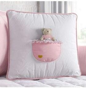 Almofada Rosa Quadrada Bolso Ursinha 38cm Grão de