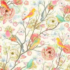 Papel De Parede Adesivo Flores Coloridas E Pássaros (0,58m x 2,50m)