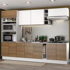 Cozinha Completa Madesa Stella 290001 com Armário e Balcão Branco/Rustic Cor:Branco/Rustic/Branco