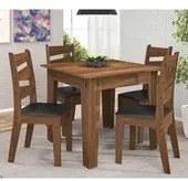 Conjunto de Mesa com 4 Cadeiras em MDF Isis Amêndoa Mobile