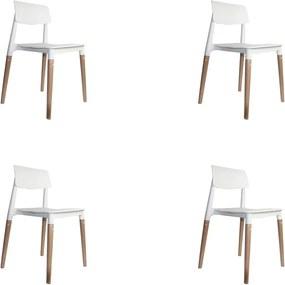 kit 4 Cadeiras Decorativas Sala e Cozinha (PP) Viper Branca - Gran Belo
