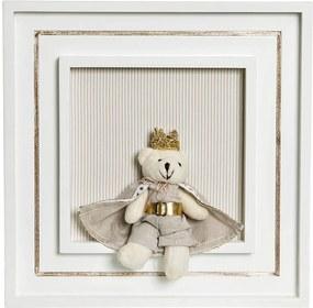 Quadro Príncipe Com Corôa E Capa Bebê Infantil Menino Potinho de Mel Bege
