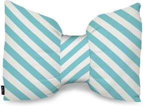 Almofada Laço Decorativo Branca Com Listras Azuis