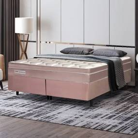 Cama Box King Size Manhattan com Molas Ensacadas 193x203x61cm- Rose