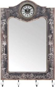 Espelho 4 Gancheiras com Relógio Oldway - 65x40x7 cm