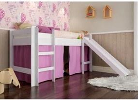 Cama Infantil com Escorregador e Cortina Rosa - Branco