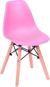 Cadeira Eiffel Infantil Base Madeira - Rosa