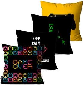 Kit com 4 Capas Para Almofadas Pump UP Decorativas Preto Play Game Over 45x45cm