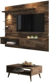 Painel Tv Ores Com Mesa De Centro Lucy Deck - Hb Móveis Marrom