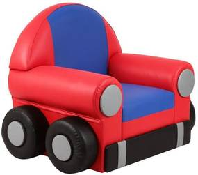 Sofá Infantil Car C/Rodízio Vermelho/Azul - Stay Puff