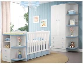 Quarto Infantil Guarda Roupa com Cantoneira e Berço Cômoda Doce Sonho Branco/Azul - Qmovi