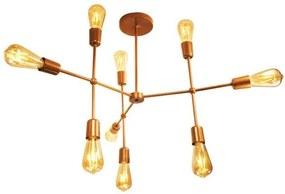 Luminária Sputnik Banket Cobre Industrial 9 hastes Moderno Soq: E-27 | Cor: Cobre| Tam: 70cm | Mod: Banket