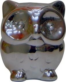 Cofre Real Arte Espelhado Coruja Pequena Prata