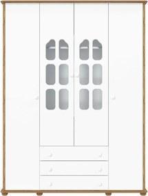 Guarda-Roupa 4 Portas Amore Branco e Teka Matic Móveis