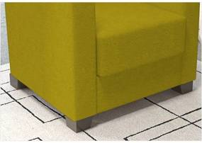 Poltrona Decorativa Valéria com Pés em PVC Suede Nest Canário - JS Móveis