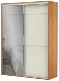 Armario Premium com Espelho 2 Portas e 2 Gavetas cor Freijo com Off White Brilho 1,79 MT (LARG) - 56454 Sun House