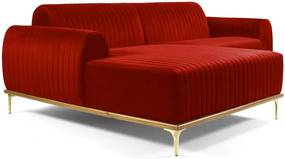 Sofá 3 Lugares com Chaise Base de Madeira Euro 245 cm Veludo Vermelho - Gran Belo