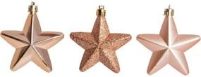 DecoraçÁo Natal P/Pendurar Árvore 6Pçs Estrela 7Cm Rose