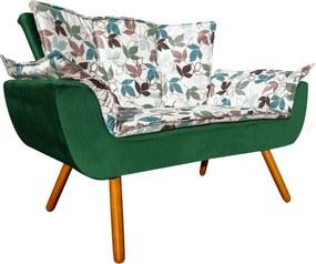 Sofá Retrô Namoradeira Opala Estampado Floral D68 e Veludo Verde Esmeralda - D'Rossi