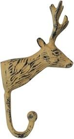 Cabideiro Rustic Deer Head Amarela em Alumínio - Urban - 18x10 cm