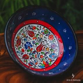 Tigela Cerâmica Turca Azul Escura