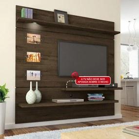 Home Suspenso Interativo, Com Suporte para TV, Luminárias de LED - Valdemóveis CASTANHO