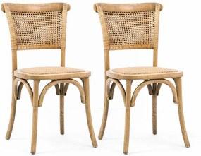 Kit 2 Cadeiras Bimbo Artesanal de Madeira e Fibra Natural