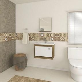 Armário de Banheiro 525 Castanho/Branco - Ozini Móveis
