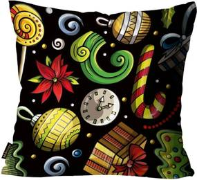 Capas para Almofada Premium Cetim Mdecore Natal Bola de Natal Preta 45x45cm