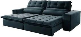 Sofá Retrátil e Reclinável 4 Lugares Azul 2,90m Renzo