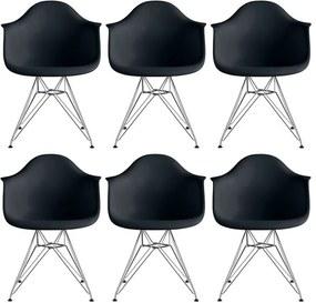 Conjunto 6 Cadeiras Eiffel Eames DAR Preta